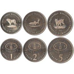 "Mazedonien 1, 2, 5 Dinar 1995 ""FAO"""