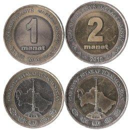 Turkmenistan 1 und 2 Manat 2010