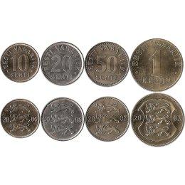 Estland 10, 20, 50 Centi 1 Kroon
