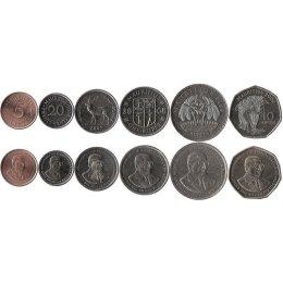 Mauritius 5, 20 Cents, 1/2, 1 Rupee, 5, 10 Rupees