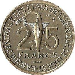 "Westafrikanische Staaten 25 Francs 1980 ""ESSAI"""