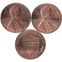 "USA 2 x 1 Cent 2010 ""Lincoln Union Shield"" P+D"