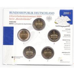 """Deutschland 2 Euro Gedenkmünzenset 2009 """"Saarland"""" St"""