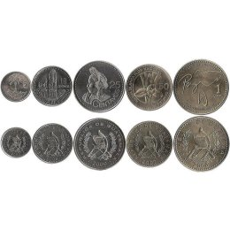 Guatemala 5, 10, 25, 50 Centavos, 1 Quetztal
