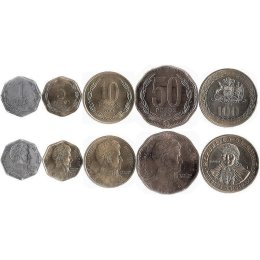 Chile 1, 5, 10, 50, 100 Pesos