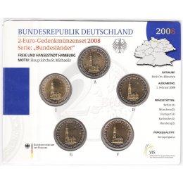 """Deutschland 2 Euro Gedenkmünzenset 2008 """"Hamburg"""" St"""