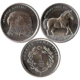 "Tuerkei 2 x 1 Lira 2014 ""Adler/Pferd"""