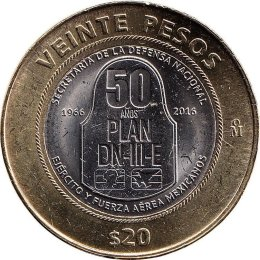 Mexiko 20 Pesos 2016 50 years of the DN-III-E Plan