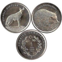 "Tuerkei 2 x 1 Lira 2014 ""Striped Hyena/Long Eared Hedgehog"""