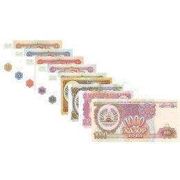 Tadschikistan 1, 5, 10, 20, 50, 100, 200, 500, 1000 Rubel 1994
