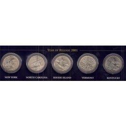 """USA 5 x Quarter 2001 """"P"""""""