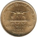 Indien 5 Rupees 2011 100 Years of Civil Aviation