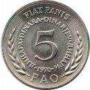 """Jugoslawien 5 Dinara 1970 """"FAO"""""""