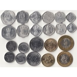 Indien 1, 2, 3, 5, 10, 20, 25, 50 Paise, 1, 5, 10  Rupees