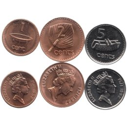 Fidschi 1, 2, 5 Cents 1992