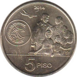 Philippinen 5 Piso 2014 Bagong Bayani coin in honor of Overseas Filipinos