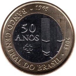 "Brasilien 1 Real 2015 ""50th anniversary of the Brazilian Central Bank"""