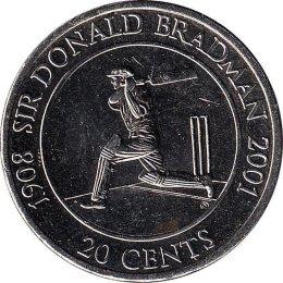 """Australien 20 Cents 2001 """"Sir Donald Bradman"""""""