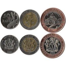 Nigeria 50 Kobo, 1 und 2 Naira 2006